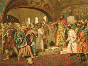 Marele Cneaz Ivan al-III-lea rupe scrisoarea adusa de solii hanului